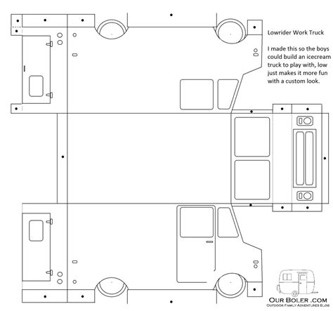 maker trailer templates utility truck paper template family outdoor adventures