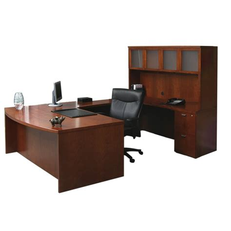 U Computer Desk Mayline Mira U Shape Computer Desk In Medium Cherry Meub1mc