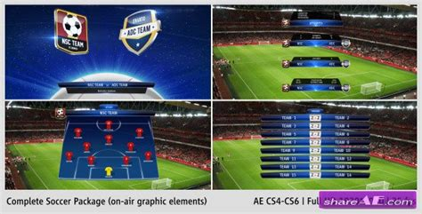 after effects templates free soccer complete on air soccer package after effects project