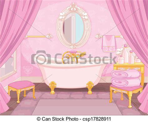 Princess Bedroom Drawing Vector Clip Of Interior Of Bathroom In The Castle