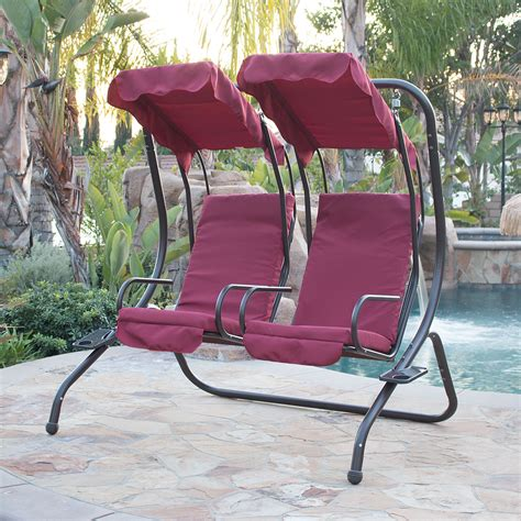2 person swing set new outdoor double swing set 2 person canopy patio