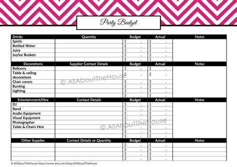 printable party budget planner party planning printables kit allaboutthehouse printables