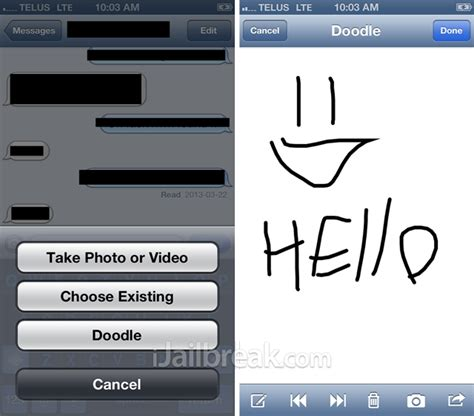 how to use doodle message compose and send drawings through the messages app on ios