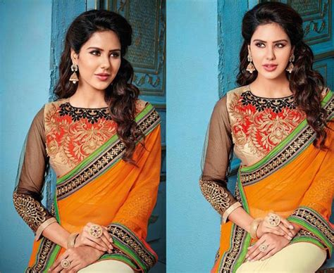 Blouse Bordir Mf buy orange and white embroidered georgette saree with