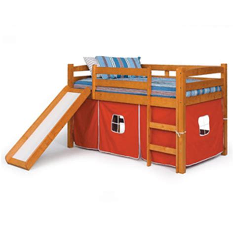 Wood Bunk Bed With Slide Junior Loft Beds Solid Wood Tent Loft Bed With Slide And Play Tent St 4500 Wc