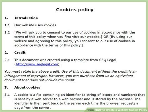 How To Create A Website Cookie Policy With Sle Cookie Policy How To Create A Template In