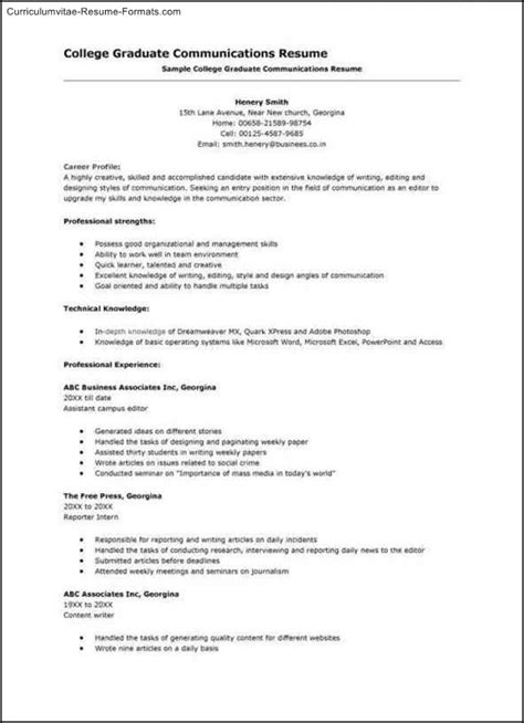 college resume template free sles