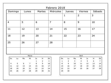 Calendario 2018 Para Imprimir Con Feriados Calendario Febrero 2018 Para Imprimir Calendario 2018