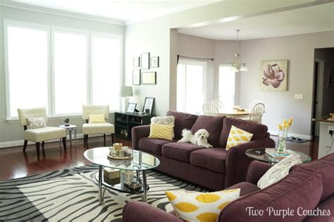 two purple couches updated house tour family room and kitchen two purple