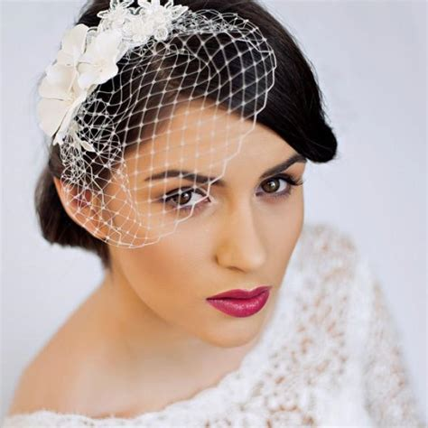 Wedding Hair With Small Veil by Small Birdcage Veil With Cherry Blossom In Ivory Bridal
