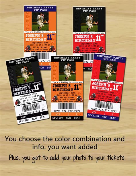 printable tickets cards football theme party printable ticket invitations one
