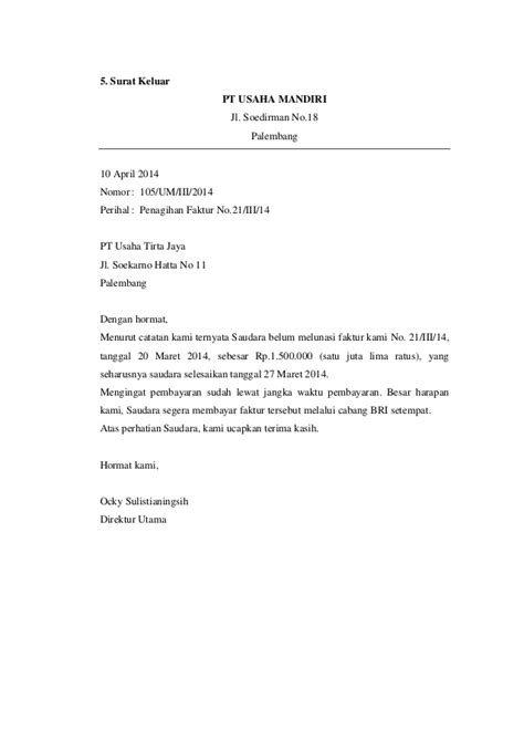 contoh surat masuk di hotel service laptop