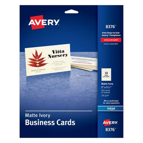 avery laser business cards template avery 2 quot x 3 5 quot ink jet business cards 8376