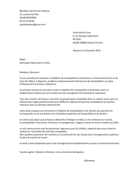 Exemple De Lettre Bac Francais Modele Lettre De Motivation Post Bac Dcg Document