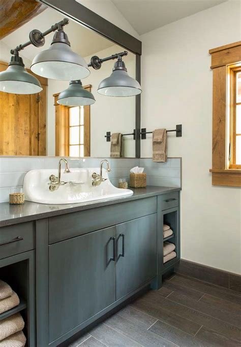 farmhouse sink vanity bathroom with upholstered ottoman