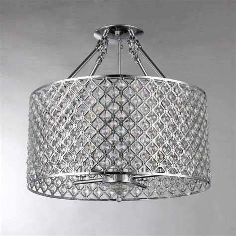 Modern Flush Mount Chandelier Chrome Round Shade Crystal Semi Flush Mount Chandelier 4