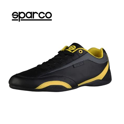 new sparco mens black yellow leather sneakers sport casual