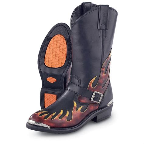 harley motorcycle boots men s harley davidson 174 fire boots black red 47735