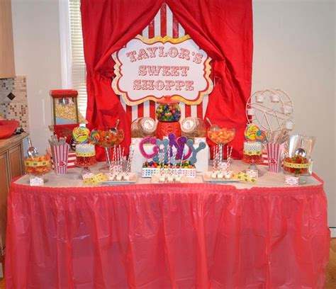 carnival 1st birthday candy buffet table party ideas