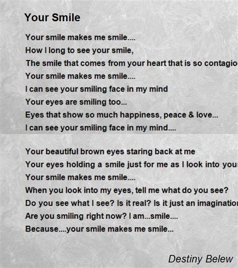 poems your your smile poem by destiny belew poem