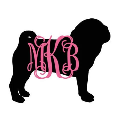 pug tumbler cup monogram pug silhouette with name decal for car laptop cup cell phone yeti iphone