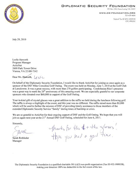 Support Letter For Non Profit Actionet A Proud Sponsor Of Diplomatic Security Foundation Mike Considine Golf Tournament