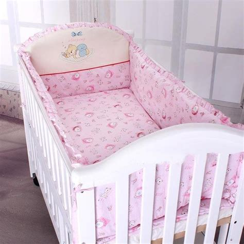 Crib Bedding Sets With Bumper Pink Color Baby Bedding Sets Setscover And Filler For The Crib Bumper Bumper 100 Cotton