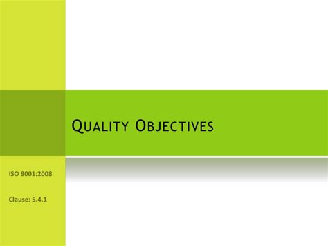 quality objectives template presentation on establishing quality objectives