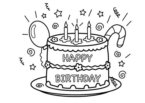 Coloring Page Of A Birthday Cake free printable birthday cake coloring pages for