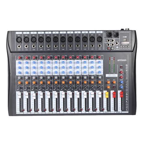 ammoon 120s usb 12 channels mixing console mic line audio mixer usb xlr input 3 band eq 48v