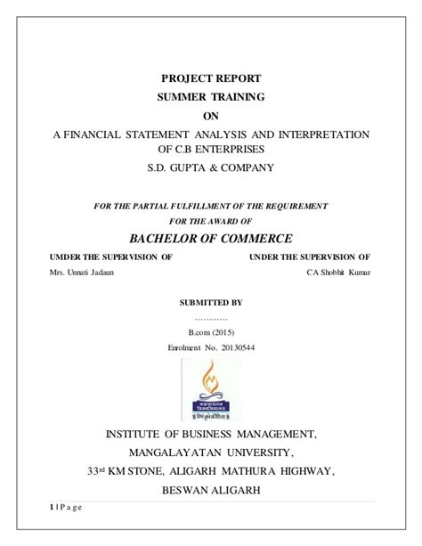 Data Analysis Interpretation Mba Project by Project Report On Financial Statement Analysis And