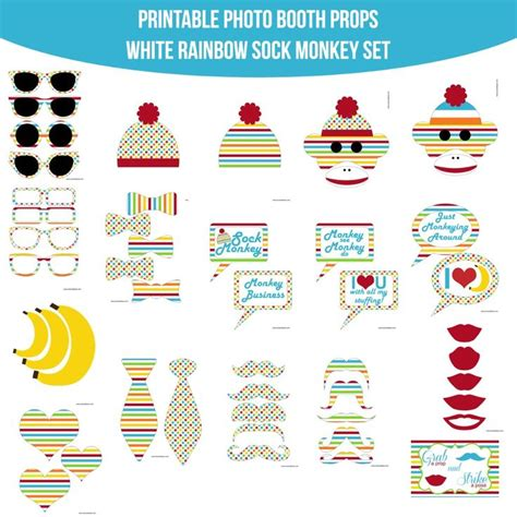 rainbow photo booth props printable 54 best curious george bithday party images on pinterest