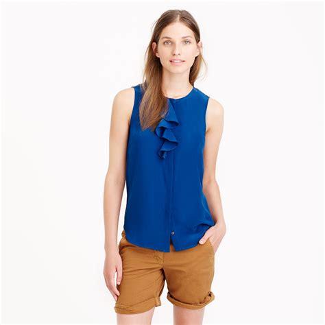 Blouse Ruffle j crew silk ruffle blouse in blue lyst