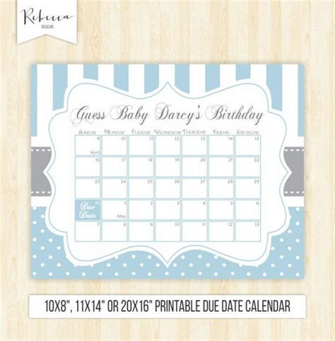 baby shower game ideas guess the date free printable big dot of