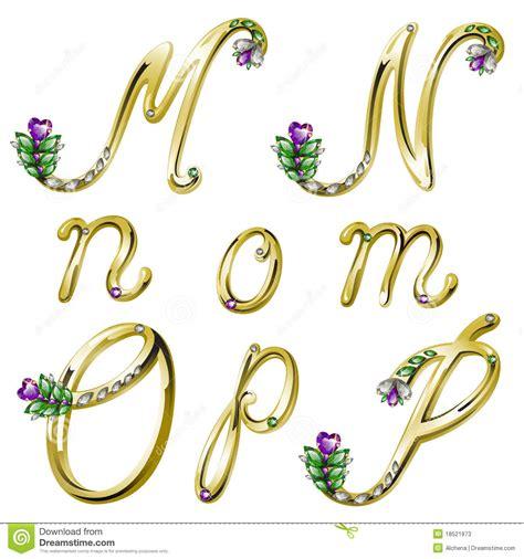 lettere particolari l alfabeto dell oro con le gemme segna la m con lettere