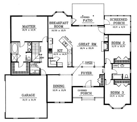 Traditional Style House Plan 3 Beds 2 Baths 2200 Sq Ft Plan 102 101
