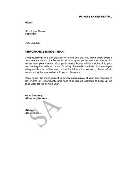 Offer Letter With Signing Bonus employee bonus letter template letter template 2017