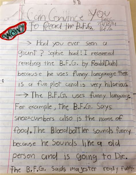 Essay For 3rd Class Student by Writing About Giants Student Opinion Essays On Roald Dahl S The B F G Miss Cooney S Classroom