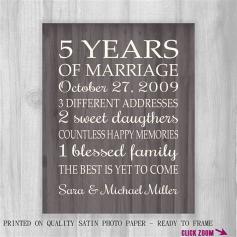 Wedding Anniversary Message 5 Years by 5th Anniversary Gift Print Faux Wood 5 Years 10 15 20 25