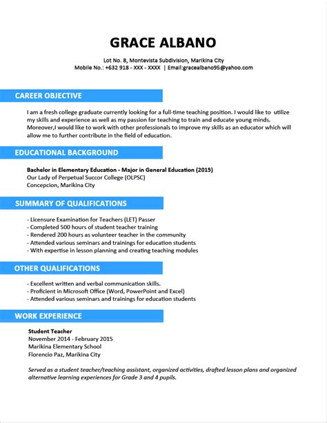 Resume Objective For Fresh Graduate Engineer Sle Resume Format For Fresh Graduates Two Page Format Jobstreet Philippines