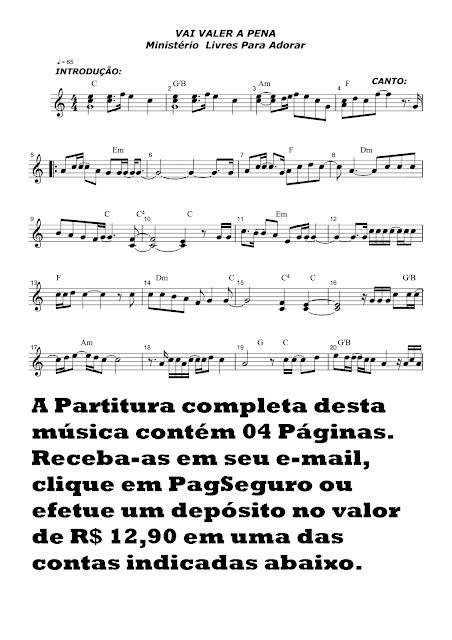Partituras Musicais: Vai valer a pena - Ministério Livres