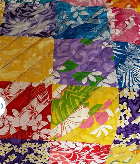 Hawaiian Handmade Quilts - hawaiian prints handmade quilt 50 x 50