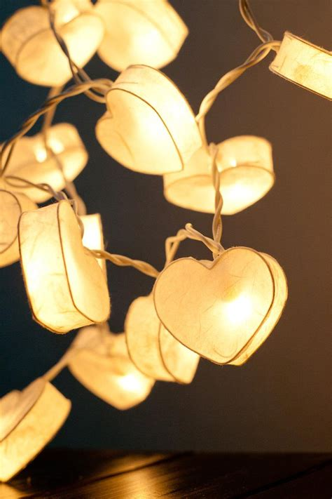 led paper lantern string lights 20 battery powered led romantic white heart paper lantern