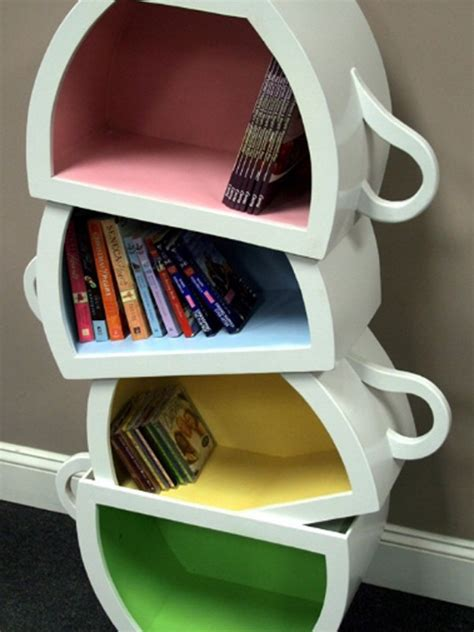 Interior Living Room creative kids bookshelf with stacked teacup