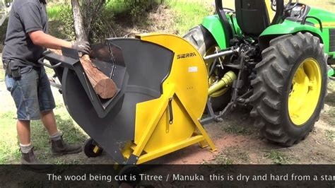 pto driven saw bench sierra pto log saw demo from implements direct youtube