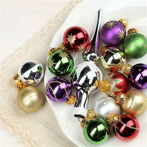 assorted miniature glass christmas ornaments on sale