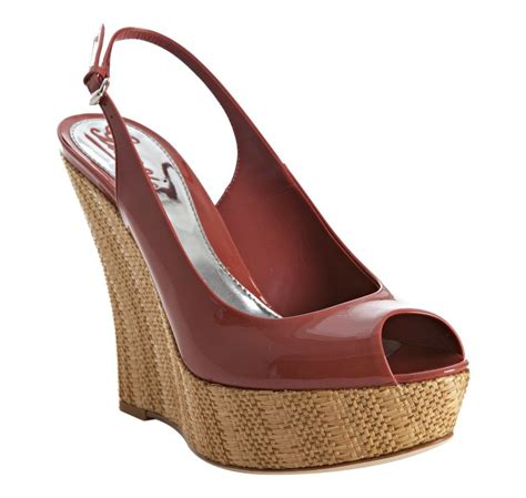 Gucci Wedges Brown gucci pink patent sofia platform slingback wedges in brown pink lyst