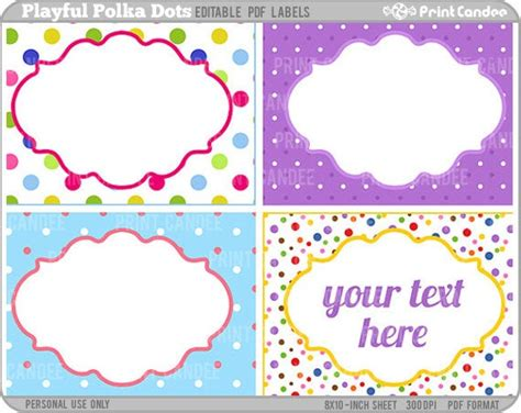 rectangle editable   playful polka dots  printcandee