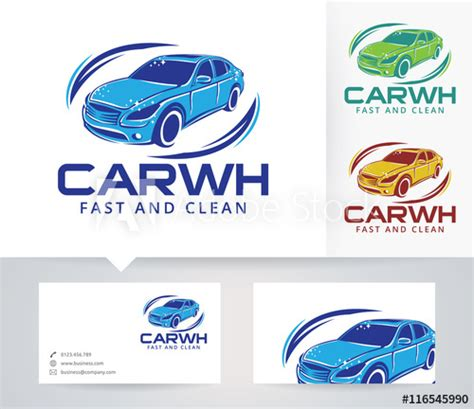 car wash business card template free car wash vector logo with alternative colors and business