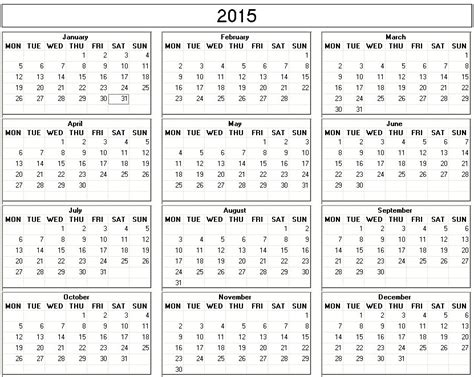one page 2015 calendar template 8 best images of black and white 2015 weekly planner